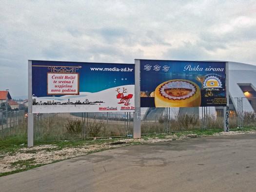 Panoi Medie-ZD na parkiralištu dvorane na Višnjiku koju su uklonjeni nakon našeg upita o legalnosti