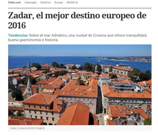 Clarin - Zadar  el mejor destino europeo de 2016